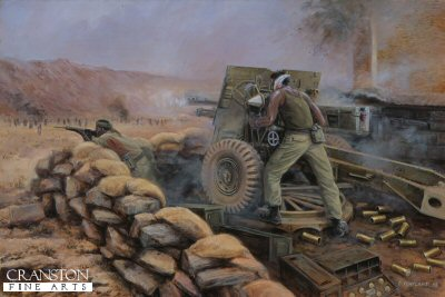 DHM1413APB. Sacrifice at Mirbat, Dhofar, Oman, 19th July 1972 by David Pentland. <p> When 250 well armed and trained rebel tribesmen attacked the small SAS outpost at Mirbat few would have given good odds on their survival. At the height of the battle Corporal Labalaba and Trooper Takavesi, both Fijians and both wounded fought off relentless assaults by the attacking Adoo. Firing a World War II vintage 25pdr field gun at point blank range Labalaba finally fell to a snipers bullet just as Captain Kealy and Trooper Tobin reached the gunpit to aid its defence. Within minutes however Tobin was dead, but Kealy and the remaining defenders critical position was saved by the timely arrival of 2 Omani Strikemaster jets, and helicopters carrying 24 men of G Squadron. <b><p> Signed by <br> Sekonaia Takavesi. <p> Sekonaia Takavesi signature edition of 30 artist proofs, from the limited edition of 50 artist proofs. <p> Image size 25 inches x 15 inches (64cm x 38cm)