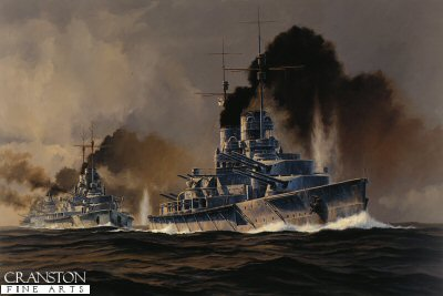 SMS Lutzow at the Opening of the Battle of Jutland  by Anthony Saunders. (GS)