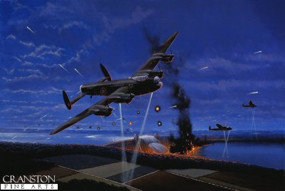 DHM1419B. The Dambusters by Graeme Lothian. <p> The night of the 16th May 1943 saw 19 modified Lancasters of the specially formed 617 squadron set out to breach the Ennepe, Eder, Mohne and Sorpe dams in Westphalia, Germany. The mission was led by Wing Commander Guy Gibson. <b><p>Signed by Squadron Leader George L. Johnson DFM. <p>Johnson Signature Edition of 100 prints (Nos 1 - 100) from the signed limited edition of 1150 prints. <p> Image size 17 inches x 10 inches (43cm x 25cm)