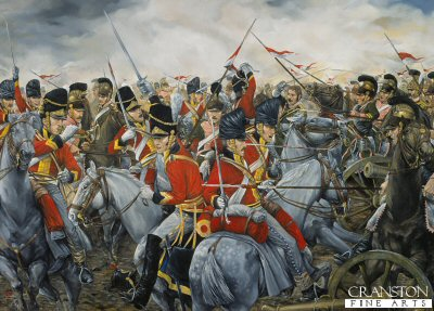 Charge of the 2nd Royal North British Dragoons (Scots Greys) at Waterloo by Brian Palmer. (PC)