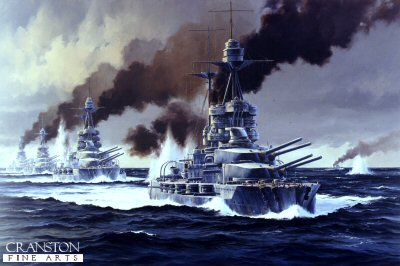 HMS Barham leads the 5th Battle Squadon at Jutland by Anthony Saunders. (Y)