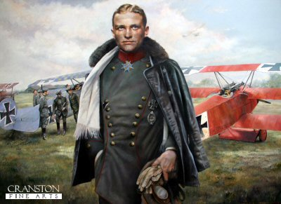 DHM1457. Baron Von Richthofen, March 1918 by Chris Collingwood. <p> Germanys greatest First World War fighter ace, Baron Von Richthofen, known as the Red Baron is shown departing his Fokker DR.1 Triplane 425/17 after yet another successful sortie.  425/17 was the aircraft in which the Red Baron finally met his end in April of that year. No fewer than 17 of his victories having been scored in his red-painted triplane. <b><p> Signed limited edition of 1150 prints.  <p>Image size 25 inches x 15 inches (64cm x 38cm)