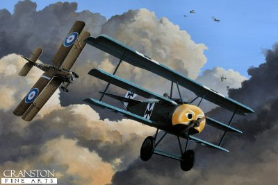 DHM1458PC. Last Dogfight of Werner Voss by Ivan Berryman. <p> The air battle that took place above the trenches of France on the evening of 23rd September 1917 was to go down in history as one of the most extraordinary dogfights ever. The young German ace Werner Voss found himself engaged with no fewer than eleven SE5s of 56 Sqn, among them British aces such as James McCudden and Arthur Rhys Davids. Hugely outnumbered, the brave Voss saw off several British aircraft with his amazing airmanship and accuracy of fire. Again and again he could have fled the scene due to his Triplanes superior rate of climb, but his attacks were insistent and deadly. His final moments came when Rhys Davids found himself on the tail of Voss and fired both his Lewis and Vickers guns into the little turqoise Triplane which was seen to drift toward the ground, his aircraft inverting before impact, killing Voss instantly. The painting shows Voss distinctive pre-production Fokker F. 1, with the yellow nose of Jasta 10, being pursued by the SE5 of Rhys Davids while, high above,a Spad is helping to keep a gaggle of Albatross DVs at bay. <b><p>Collector&#39;s Postcard - Restricted Initial Print Run of 100 cards.<p>Postcard size 6 inches x 4 inches (15cm x 10cm)