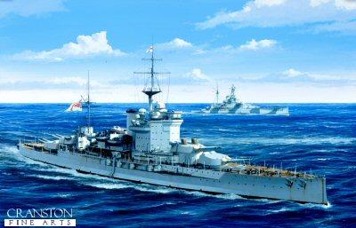 HMS Warspite by Ivan Berryman.