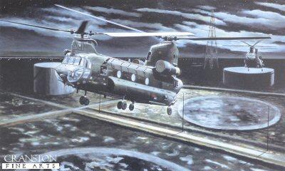 Chinooks Approaching the Al Faw Peninsula, Iraq by David Rowlands.