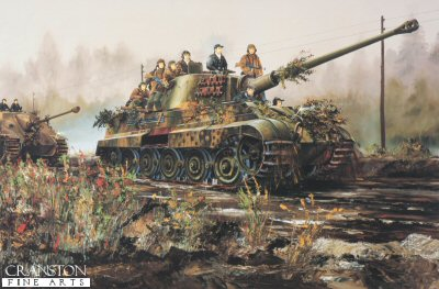 DHM1501.  Konigstiger Ausf B by Randall Wilson. <p> With assault troops on board, a king tiger from Schwere Panzer Abteilung 511 leads a Jagdpanther down a morning misty road May 1945. <b><p> Signed limited edition of 1150 prints. <p> Image size 25 inches x 15 inches (64cm x 38cm)