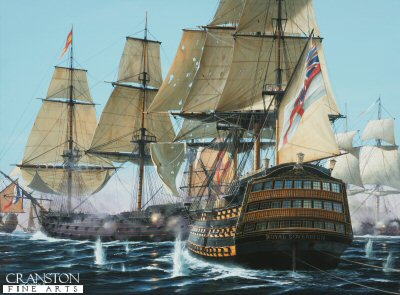 Trafalgar: HMS Royal Sovereign Prepares to Break the Line�by Ivan Berryman.