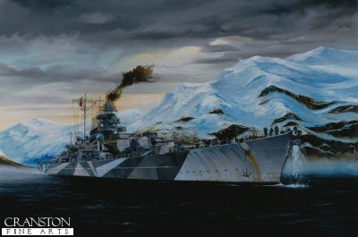 DHM1510. Time to Move by Randall Wilson. <p> Battleship Tirpitz weighs anchor and ups steam to move out of Alta Fjord 1944. <b><p> Signed limited edition of 1150 prints. <p> Image size 25 inches x 15 inches (64cm x 38cm)