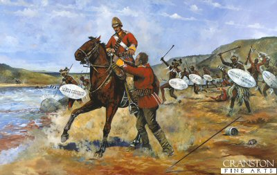 DHM1528. Private Samuel Wassall of the 80th Regiment of Foot  (Staffordshire Volunteers) at Fugitives drift.  by Jason Askew. <p> Private Wassall, whilst escaping the debacle of Isandhlwana, was being pursued by Zulu warriors as he made his way down the Buffalo River, the border between Zululand and Natal. Wassall rode his Basuto pony into the river, but upon hearing a cry for help and seeing a man from his own regiment drowning, he turned and made his way back to the Zulu side of the river, Quickly dismounting he tied his horse to a tress, swam into the river and rescued a private called Westwood as the Zulus were sweeping along the riverbank just at the moment the Zulus rushed forward. For his act of valour in the face of the enemy Private Samuel Wassall was awarded the first of the Zulu War Victoria Crosses. <b><p> Signed limited edition of 1150 prints.  <p> Image size 25 inches x 14 inches (64cm x 36cm)