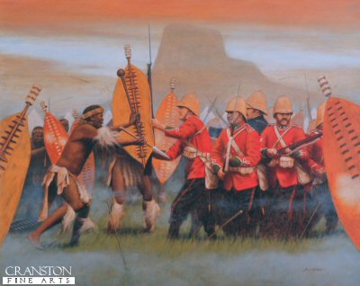 DHM1529. Isandhlwana 22nd January 1879 by Stuart Liptrot. <p>Battle of Isandhlwana.   Zulu victory over the British forces on 22nd January 1879 about 100km north of Durban. Lord Chelmsford led a column of forces to seek out the Zulu army camped at Isandhlwana, while patrols searched the district. After receiving a report, Chelmsford set forth at half strength, leaving six companies of the 24th Regiment, two guns, some Colonial Volunteers and a native contingent (in all about 1,800 troops) at the camp. Later that morning an advanced post warned of an approaching Zulu army. Shortly after this, thousands of Zulus were found hidden in a ravine by a mounted patrol but as the patrol set off to warn the camp, the Zulus followed. At the orders of the Camp Commander, troops spread out around the perimeter of the camp, but the Zulu army broke through their defences. The native contingent who fled during the attack were hunted down and killed. The remaining troops of the 24th Regiment, 534 soldiers and 21 officers, were killed where they fought. The Zulus left no one alive, taking no prisoners and leaving no wounded or missing. About 300 Africans and 50 Europeans escaped the attack. Consequently, the invasion of Zulu country was delayed while reinforcements arrived from Britain.<b><p> Signed limited edition of 1150 prints.  <p>Image size 16 inches x 12.5 inches (41cm x 32cm)