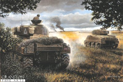 The Death of Wittmann, St Aignan de Cramesnil, France, 8th August 1944 by David Pentland. (P)