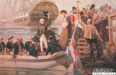 DHM154.  Goodbye My Lads by Fred Roe. <p>Lord Nelson waves goodbye to the crowd at Portsmouth. Lord Nelson joins his ship HMS Victory before the battle of Trafalgar. <b><p> Open edition print. <p> Image size 24 inches x 14 inches (61cm x 36cm)