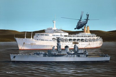Canberra and HMS Argonaut by Ivan Berryman.