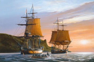 DHM1547B. HMS Captain and HMS Southampton, 1796 by Ivan Berryman. <p> The 74 gun HMS captain, flying the flag of Commodore Horatio Nelson, lies at anchor at Sound Rock, Bahamas, in company with the 32-gun frigate HMS Southampton in 1796. <b><p> Small signed limited edition of 50 prints. <p> Image size 12 inches x 8 inches (31cm x 20cm)