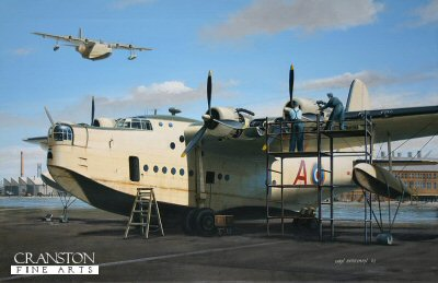 DHM1558B. Fat Alberts Day Off by Ivan Berryman. <p>Ground crew performing routine maintenance on a Sunderland on the slipway at Pembroke. <b><p>Small signed limited edition of 50 prints.  <p>Image size 12 inches x 8 inches (31cm x 20cm)