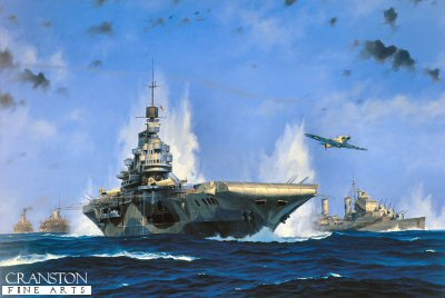 The Pedestal Convoy - HMS Indomitable by Anthony Saunders. (GL)