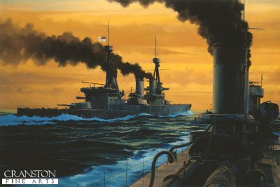 The Battle of Jutland took place on 31st May 1916.  It was the largest clash of battleships in history, over 250 ships from the Grand Fleet and the German High Sea Fleet took part.  But both fleets struggled to gain supremacy in difficult conditions.  The battle started well for HMS Invincible, together with Inflexible and Indomitable she formed part of the 3rd Battlecruiser Squadron under Admiral Hood.  She scored eight direct hits on Lutzow which caused the German ship to withdraw from the battle and eventually sink.  HMS Invincibles luck finally ran out when she was hit on the midships Q turret, the eventual explosion causing the ship to sink in two halves.  Here Invincible is seen prior to the battle from HMS Nestor, one of the destroyer escorts of the 13th Flotilla.