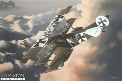 DHM1575PC. Ltn Fritz Kempf by Ivan Berryman. <p>The Fokker DR.1 Triplane (213/17) of Fritz Kempf swoops on a pair of unsuspecting Sopwith Camels whilst on patrol over the Western Front in 1917. Kempfs  practise of having his name painted across the top wing of his aircraft was supplemented by the taunt Do You Remember Me? on the mid wing. His aircraft is depicted in the colours worn by Jasta Boelcke of the Imperial Air Service. <b><p>Collector&#39;s Postcard - Restricted Initial Print Run of 100 cards.<p>Postcard size 6 inches x 4 inches (15cm x 10cm)