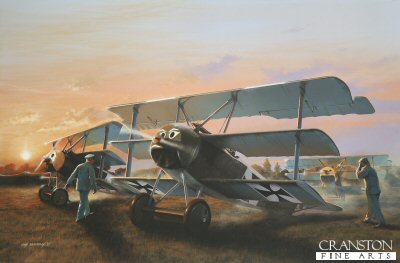DHM1594B. Leutnant Werner Voss by Ivan Berryman. <p> Aircraft of Jasta 10 prepare to taxi out for a dawn patrol, led by the fearless Leutnant Werner Voss in his Fokker F1 103/17 in September 1917. Arguments still rage concerning the colour of the engine cowling on his Triplane. Certainly, when the aircraft was delivered, its upper surfaces were painted factory finish streaked green and, it is recorded that it was flown as delivered with Voss personal mechanic noting that no extra painting was undertaken, aside from Voss Japanese kite face which occupied the nose.  However, research shows that by the time of Voss death on 23rd September 1917, after his epic battle with SE5s of 56 Sqn, the cowling was probably yellow in keeping with all Jasta 10 aircraft. Renowned by pilots from both sides for his bravery and extraordinary abilities with his diminutive Triplane, the young ace scored a total of 48 confirmed victories before being brought down by Lieutenant Rhys Davids on the very day that he was due to go on leave.  The Fokker F1 differed from the production DR.1 in detail only, Voss machine being fitted with a captured 110hp Le Rhone engine, his aircraft not being fitted with the outer wing skids common to the DR.1. <b><p> Small signed limited edition of 50 prints. <p> Image size 12 inches x 8 inches (31cm x 20cm)