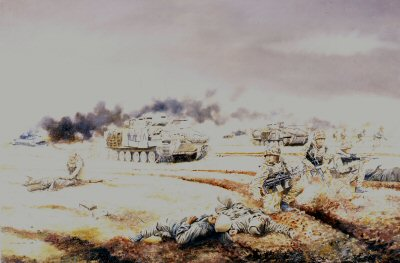 1st Battalion The Royal Scots (The Royal Regiment) in action in Iraq on Objective Brass, 26th February 1991 by David Rowlands. (AP)