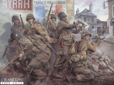 DHM1607AP. Easy Company - The Taking of Carentan by Chris Collingwood. <p> You have a rendezvous with destiny! - promised Major Gen William Lee to his men as the 101st Airborne Division was activated at Camp Claiborne, Louisiana, 15 August 1942. And the first place they kept that rendezvous was Normandy. At precisely 23.00 hours on the night of 5th June 1944, aircraft containing the men of Easy Company, 506th Parachute Regiment, 101st Airborne Division, thundered down the runway at Upottery Airfield.  Lifting off into the night, the hazardous mission given to the paratroopers of the 101st was to speaerhead the Allied invasion of Hitler occupied Europe - a rendezvous with destiny if ever there was one.  Crossing the French coast two hours later, the vast air armada was met by heavy German AA fire and hampered by heavy banks of cloud, scattering the Division over a wide area.  Few units landed in their designated drop zones and by dawn on the morning of 6th June, Easy Company comprised just nine rifle men, two officers, a couple of machine guns, and a mortar.  The task of these eleven men - to annihilate a German battery targetting the landings on Utah Beach!  Undaunted, this tiny group of young paratroopers ferociously assaulted and captured the battery, their action saving the lives of hundreds of their comrades coming ashore on the beach head below.  In the gruelling days that followed, the men of Easy Company fought their way through dense hedgerows, across fields and orchards, through farms and villages towards their next objective - the strategic town of Carentan.  Heavily defended by German forces, its seizure was vital to the Allied advance.  Portrays the men of Easy Company as they fight their way through the bullet-swept streets of Carentan. Facing the enemy in close combat house-to-house street fighting, the paratroopers relentlessly pounded the enemy until the last vestiges of German resistance were overwhelmed and the objective taken. But for the men of Easy Company and the 101st Airborne, this action is just the beginning of their distinguished but savage war. Others will follow: the liberation of the first Dutch city, Eindhoven; the siege of Bastogne during the Battle of the Bulge; and ultimately, the capture of Hitlers Eagles Nest at Berchtesgaden. <b><p> Signed by Corporal Herb Jr Suerth, <br>Private 1st Class Bill Wingett, <br>First Sergeant Frank Soboleski, <br>Colonel Ed Shames  <br>and <br>Private 1st Class Bill Maynard. <p> Signed limited edition of 50 artist proofs. <p> Paper size 30 inches x 25 inches (76cm x 64cm)