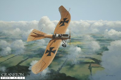DHM1609. Etrich Taube by Ivan Berryman. <p> The extraordinary Taube (or Dove) was extensively used by the Germans as a reliable, stable observation and reconnaissance aircraft as late as 1916, despite its archaic appearance. The Taube type first flew in Austria in 1909, the brainchild of Dr Igo Etrich and employed the early method of directional control known as differential wing-warping, instead of possessing ailerons and elevators. This version was powered by a Mercedes 6-cylinder inline engine and is a two-seat variant, much favoured by the Germans. <b><p> Signed limited edition of 200 giclee art prints. <p> Image size 26 inches x 17 inches (66cm x 43cm)