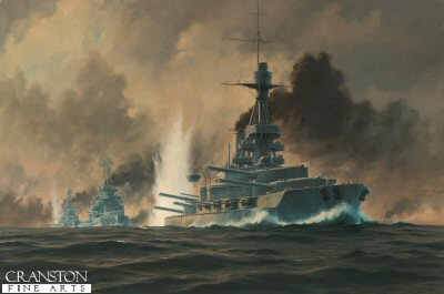 HMS Benbow at the Battle of Jutland by Anthony Saunders. (GS)