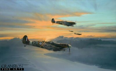 DHM1639. Eagle Force by Robert Taylor. <p> In the dark days of 1940 following Dunkirk, a seemingly defenceless Britain stood starkly alone in Europe, facing the might of an all-conquering Nazi Germany.  Protected only by the narrow waters of the English Channel, it was left to a tiny band of young RAF fighter pilots to stem the Luftwaffes onslaught as the country braced itself for invasion.  Across the Atlantic, America followed the savage encounters of the Battle of Britain, knowing that soon it too would become involved in the war.  Unable to wait, a small band of Americans decided their time had come; some 240 young US pilots, motivated to fight for the cause of freedom, made their way to England to fly with the RAF, and later the USAAF; many paid the ultimate price, more than a third never returning home.  By September 1940 these carefree young flyers were united into a re-formed 71 Squadron, the first of three Eagle Squadrons, and the first to go into action, followed shortly after by 121 and 133 squadrons.  Showing the same steely determination that had carried their British comrades through the Battle of Britain, they were quickly embraced into the fold of the RAF, their ferocious reputation in combat endearing them to the British people.  The legend of the American Eagles was born.  Robert Taylors tribute to the young American volunteer pilots who joined the RAF to fight for freedom at the time when Britain stood alone against the Nazi domination in Europe. Robert Taylors painting features Spitfire Vbs of 71 Squadron RAF as they return to their base at North Weald, September 1941, the young American pilots perhaps taking a brief moment to marvel at the myriad colours of the late evening sun - welcome relief from the perils of recent air combat with the Luftwaffe high above the English Channel. <b><p> Signed by Colonel Bill Edwards, <br>Flight Lieutenant James Gray (deceased) <br>and <br>Colonel Steve Pisanos. <p> Signed limited edition of 400 prints. <p> Paper size 32.5 inches x 23.5 inches (82cm x 60cm)