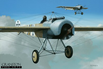 DHM1645PC. Kurt von Crailsheim by Ivan Berryman. <p>The Fokker E II of Leutnant Kurt Freiherr von Crailsheim of FFA 53 is shown in formation with his wingman in a similar aircraft. Von Crailsheims aircraft bears his personalised markings of yellow, black and white diagonal bars on the fuselage, thought to represent his Military Merit Medal combined with the black and white of Prussia. The cross on the fuselage sides was applied in an unusually forward position. FFA 53 was based at Monthois late in 1915 and it was from this location that von Crailsheim made his final flight in this aircraft on 30th December. <b><p>Collector&#39;s Postcard - Restricted Initial Print Run of 100 cards.<p>Postcard size 6 inches x 4 inches (15cm x 10cm)