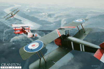 DHM1646PC. Captain Roy Brown engages the Red Baron, 21st April 1918 by Ivan Berryman. <p> Mystery still surrounds just why Manfred von Richthofen risked so much in chasing the novice pilot Wilfred Wop May into Allied-occupied territory on the morning of Sunday, 21st April 1918, but it was to be his last flight, this error of judgement costing him his life. Von Richthofen had broken from the main fight involving Sopwith Camels of 209 Sqn to chase Mays aircraft, but found himself under attack from the Camel of Captain Roy Brown. All three aircraft turned and weaved low along the Somme River, the all red Triplane coming under intense fire from the ground as well as from Browns aircraft. No one knows exactly who fired the crucial bullet, but Manfred von Richthofens aircraft was seen to dive suddenly and impact with the ground. The Red Baron was dead and his amazing run of 80 victories was over. The painting shows Mays aircraft (D3326) in the extreme distance, pursued by DR.1 (425/17) and Browns Camel (B7270) in the foreground. <b><p>Collector&#39;s Postcard - Restricted Initial Print Run of 100 cards.<p>Postcard size 6 inches x 4 inches (15cm x 10cm)