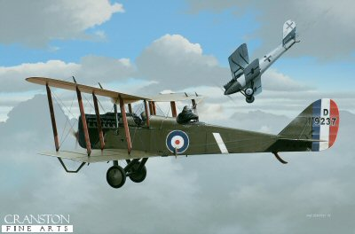 Captain Euan Dickson and AGL V Robinson, DH.4 by Ivan Berryman. (GL)
