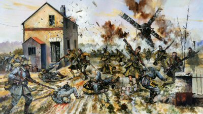 Cameron Highlanders Capture a German Force on the Yser by Jason Askew.  (Y)