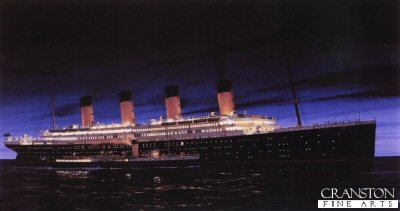 RMS Titanic at Cherbourg by Ivan Berryman. (GS)