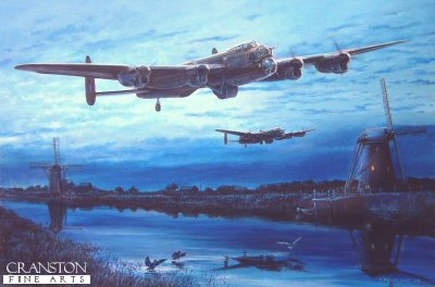 DHM1701. Well on the Way to Make History - the Dambusters by David Pentland. <p> The most famous raid of the second world war, the audacious Dambusters raid by Lancasters of No.617 Sqn was to wreak havoc in Germanys industrial heartland.  Two dams will be destroyed on the raid - the Mohne and the Eder, flooding the valleys below and stopping production in their factories, providing an immeasurable morale boost for those back home.  Here, two of the modified bombers pass windmills on the Dutch canals as they make their way to the first target, their almighty roar shattering the stillness and disturbing some of the local wildlife. As they approach Germany in the moonlight, the bombers are well on the way to make history. <b><p>Signed limited edition of 1050 prints. <p> Image size 17 inches x 12 inches (43cm x 31cm)