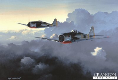 DHM1706C. Looking for Business by Ivan Berryman. <p> A pair of Focke Wulf 190A4s of 9./JG2 Richthofen based at Vannes, France during February 1943. The nearest aircraft is that of Staffelkapitan Siegfried Schnell. The badge on the nose is the rooster emblem of III./JG2 and the decoration on Schnells rudder shows 70 of his eventual total of 93 kills. <b><p> Signed by Major Erich Rudorffer (deceased). <p> Rudorffer Knights Cross signature edition of 100 prints (Nos 1 - 100) from the Knights Cross edition of 300 prints. <p> Image size 19 inches x 13 inches (48cm x 33cm)
