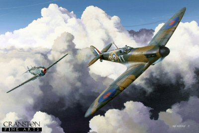 DHM1707PC. High Pursuit by Ivan Berryman. <p> Squadron Leader H C Sawyer is depicted here flying his 65 Sqn Spitfire Mk.1a R6799 (YT-D) in the skies above Kent on 31st July 1940 at the height of the Battle of Britain.  Chasing him is Major Hans Trubenbach of 1 Gruppe, Lehrgeschwader 2 in his Messerschmitt Vf109E-3 (Red 12) . The encounter lasted eight minutes with both pilots surviving. <b><p>Collector&#39;s Postcard - Restricted Initial Print Run of 100 cards.<p>Postcard size 6 inches x 4 inches (15cm x 10cm)