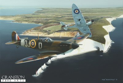 DHM1708. In Them We Trust by Ivan Berryman. <p> Two Spitfire Mk1Bs of 92 Squadron patrol the south coast from their temporary base at Ford, here passing over the Needles rocks, Isle of Wight, in the Spring of 1942. <b><p>Signed limited edition of 1150 prints. <p> Image size 17 inches x 12 inches (43cm x 31cm)