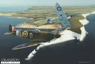DHM1708PC. In Them We Trust by Ivan Berryman. <p> Two Spitfire Mk1Bs of 92 Squadron patrol the south coast from their temporary base at Ford, here passing over the Needles rocks, Isle of Wight, in the Spring of 1942. <b><p>Collector&#39;s Postcard - Restricted Initial Print Run of 100 cards.<p>Postcard size 6 inches x 4 inches (15cm x 10cm)