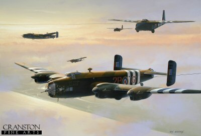 DHM1713C. Operation Mallard by Ivan Berryman. <p> Halifax Tugs Towing Hamilcar Gliders.  Halifax glider tugs of 644 Squadron based at Tarrant Rushton head out across the English Channel with their Hamilcar gliders as part of Operation Overlord in June 1944.  The mighty Hamilcar was capable of carrying an 8-ton payload, which was the equivalent of two Tetrarch light tanks, and was used both in the Normandy invasion and at Arnhem. <b><p> Signed by Flt Lt Eric Kemp DFC (deceased). <p> Kemp signature edition of 50 prints (Nos 1 - 50) from the signed limited edition of 1150 prints <p> Image size 17 inches x 12 inches (43cm x 31cm)