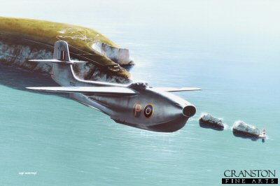 DHM1714APB. Saro SR.A1 Over the Needles by Ivan Berryman. <p>In 1947, the first of three SR.A1 experimental flying boat fighters took to the air from the Saunders Roe factory at Cowes. Powered by two Metropolitan-Vickers F2 / 4 Beryl turbojet engines, this unique and innovative machine displayed excellent performance, providing the pilot with an ejection seat and fully pressurised cockpit. Sadly, service chiefs concluded that land-based fighters were the way forward and no further examples of the SR.A1 were built.<b><p>Signed by <a href=signatures.php?Signature=713>Eric Winkle Brown (deceased)</a>. <p>Small limited edition of 20 artist proofs. <p> Image size 12 inches x 8 inches (31cm x 20cm)