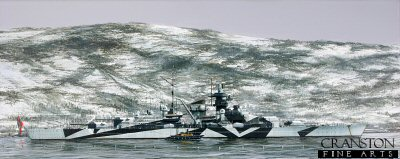 DHM1718. Tirpitz in Kaafjord by Ivan Berryman. <p> The mighty Tirpitz demonstrates the effectiveness of her splinter camouflage, surrounded by her net defences at Kaafjord in the Winter of 1943-44. <b><p>Signed limited edition of 1000 prints. <p>Image size 19 inches x 8 inches (48cm x 20cm)