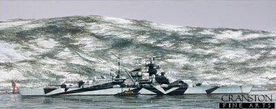 Tirpitz in Kaafjord by Ivan Berryman.