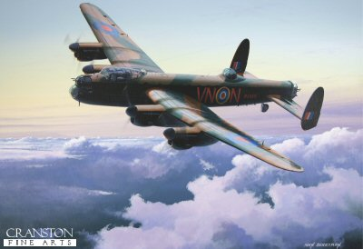 DHM1719AP. Avro Lancaster B.1 by Ivan Berryman. <p>  R5689 (VN-N) - a Lancaster B.1 of 50 Squadron based at Swinderby. This aircraft crash-landed in Lincolnshire while returning from a mission on 19th September 1942, after both port engines failed as the aircraft was preparing to land.  The aircraft never flew again.  The crew on the final mission were : <br>Sgt E J Morley RAAF,<br>P/O G W M Harrison,<br>Sgt H Male,<br>Sgt S C Garrett,<br>Sgt J W Dalby,<br>Sgt J Fraser<br>and<br>Sgt J R Gibbons RCAF, the sole member of the crew killed in the crash. <b><p>Limited edition of 50 artist proofs. <p> Image size 17 inches x 12 inches (43cm x 31cm)