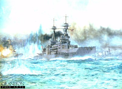 HMS Vanguard at the Battle of Jutland by Charles Dixon.