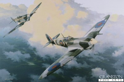 DHM1721F. Spitfire Mk.IXE by Ivan Berryman. <p> A pair of Spitfire Mk.IXEs of 611 Squadron make their way home from a patrol during the summer of 1942. At this time 611 Squadron were based at Kenley and were the first squadron to receive the new Mk.IX putting it on equal terms, for the first time, with the formidable Focke-Wulf 190. <b><p>Signed by <a href=signatures.php?Signature=1037>Flying Officer Kurt Taussig</a><br>and<br><a href=signatures.php?Signature=1236>Group Captain Byron Duckenfield AFC (deceased)</a>. <p>Taussig / Duckenfield signature edition of 300 prints from the signed limited edition of 1150 prints. <p>Image size 17 inches x 12 inches (43cm x 31cm)