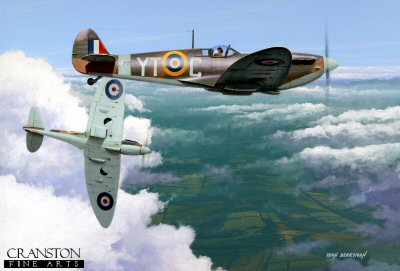 DHM1722E. The Fledgling by Ivan Berryman. <p> Under the watchful eye of his more experienced tutor a trainee pilot gets his first taste of the Spitfire Mk.IIa, airborne from Tangmere early in 1941. the nearest aircraft is P7856 (YT-C) which enjoyed a long career, surviving until 1945. <b><p>Signed by Wing Commander Peter V Ayerst DFC (deceased). <p>Ayerst Signature edition of 100 prints from the signed limited editionm of 1150 prints. <p> Image size 17 inches x 12 inches (43cm x 31cm)