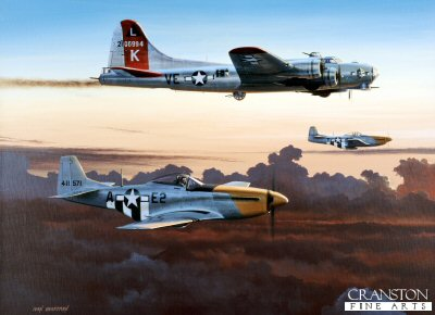 DHM1724I. Last One Home by Ivan Berryman. <p> A pair of P51D Mustangs of the 361st Fighter Group, 8th Air Force, escort a damaged B17G Flying Fortress of the 381st Bomb Group back to its home base of Ridgewell, England, during the Autumn of 1944. <b><p>Signed by Lt Col Donald S Bryan (deceased)<br>and<br>Captain Robert Punchy Powell. <p>Bryan / Powell Signature edition of 200 prints from the signed limited edition of 1150 prints. <p> Image size 17 inches x 12 inches (43cm x 31cm)