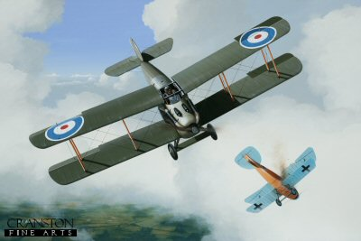 DHM1746PC. Major Albert Carter by Ivan Berryman. <p> The Sopwith Dolphin was a radical departure from previous Sopwith design philosophies, embodying a reverse-stagger on the wings, a water-cooled Hispano-Suiza engine and an unusual, but highly popular positioning of the cockpit which gave the pilot unprecedented views. One exponent of this purposeful looking machine was Canadian Major A D Carter who claimed many of his 31 victories flying the Dolphin. He is shown here sending an Albatross to the ground on 8th May 1918 whilst flying C4017. Carter was himself shot down soon after became a prisoner of war. He was killed in 1919 whilst test flying a Fokker D.VII at Shoreham, Sussex. <b><p>Collector&#39;s Postcard - Restricted Initial Print Run of 100 cards.<p>Postcard size 6 inches x 4 inches (15cm x 10cm)