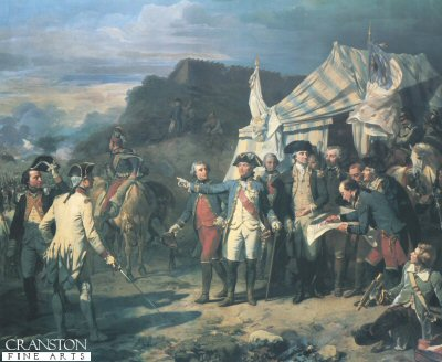 DHM175.  Seige of Yorktown by Couder. <p>Depicting Lord Cornwallis surrendering to Washington and the Marquis de Lafeyette at Yorktown in 1781. <b><p> Open edition print. <p> Image size 23 inches x 19 inches (58cm x 48cm)