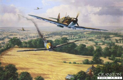 DHM1750. High Summer by Anthony Saunders. <p> On the 9th September 1940,  No.92 Squadron was thrown into the Battle of Britain.  They had fought bravely during the evacuation of Dunkirk, and after a spell on convoy patrol, they were thrust into the desperate climax of the greatest air battle in history.  Flying Spitfires from Biggin Hill, they immediately went into action attacking massive Luftwaffe bomber formations and their escorting Me109s.  Southern England was under severe threat, but the impact of 92 Squadron was immediate.  During the next four months, its young pilots brought down no fewer than 127 enemy aircraft.  This painting by Anthony Saunders portrays Spitfires from No.92 Sqn as they successfully engage an Me109 over the harvested fields of southern England, in August 1940.  The desperate action of aerial combat is beautifully captured in this compelling and accurate reconstruction of a famous fighter squadron at war. <b><p> Signed by Flight Lieutenant Alexander N R L Appleford (deceased) and Flight Lieutenant Trevor Gray. <p> Signed limited edition of 400 prints. <p> Paper size 26.5 inches x 19.5 inches (67cm x 50cm)  Image size 21.5 inches x 14 inches (54cm x 36cm)